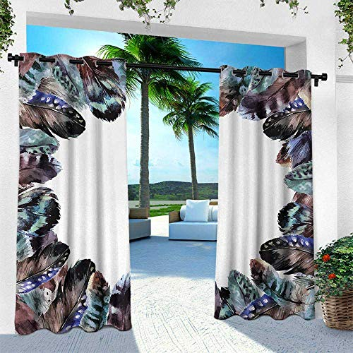 Hengshu Boho, Outdoor Patio Curtains Waterproof with Grommets,Boho Circle Round Frame with Shabby Ornate Feathers Retro Gypsy Artistic Design, W120 x L108 Inch, Mauve Black Blue