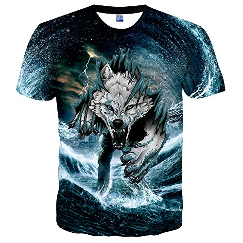 (Hgvoetty Unisex Animal Shirts Realistic 3D Printed Casual Cool Tees XXL)