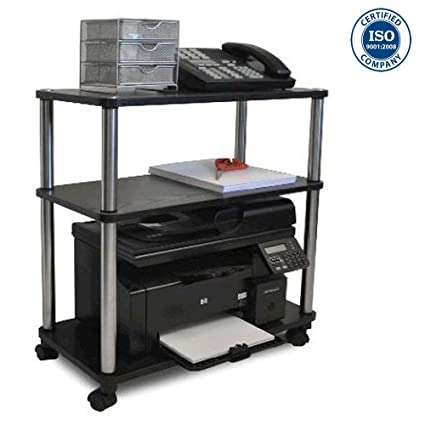 Cirocco 3 Tiers Portable Rolling Utility Office Cart Table Organizer  Storage Shelves Stand On Wheels Black