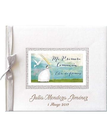 Libro de firmas para comunión color blanco con espiga PERSONALIZADO con grabado en la portada de