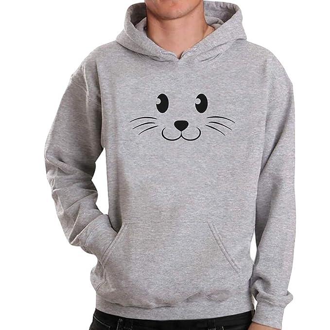 FAMILIZO Sudaderas Hombres OtoñO Moda Manga Larga Gato ImpresióN Camiseta Blusa Tops Camiseta Hoodie Chaqueta Hombres Invierno: Amazon.es: Ropa y accesorios