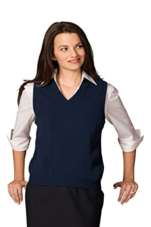 Ed Garments Women's V-Neck Jersey Stitch vest, NAVY, X-Large at ...