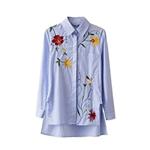 Women Embroidery Blouse Loose Cotton Shirt Long Sleeve Turn-down Collar White Blue Striped Tops (XL)