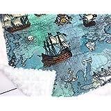 "Minky Baby Blanket Pirate ship, ocean map green blue, 28"" x 38"""