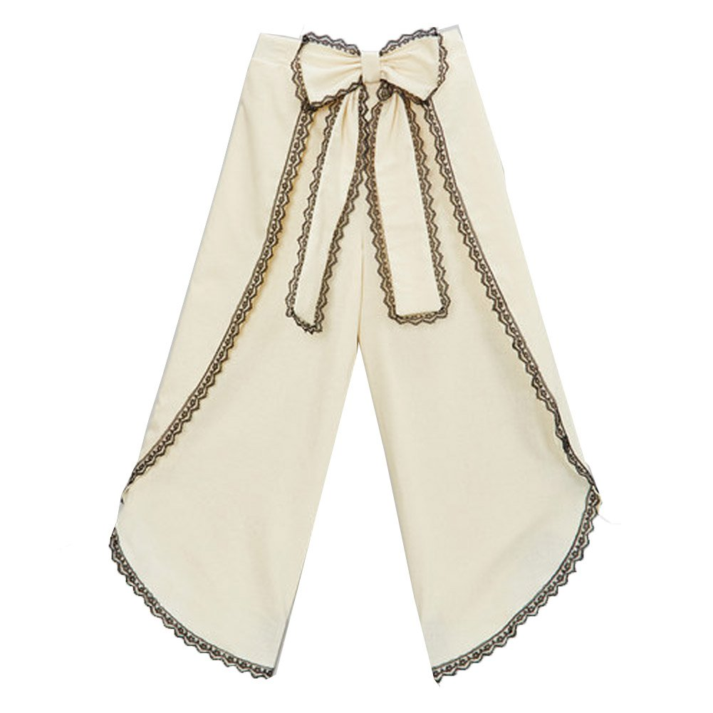 Little Girls Ivory Black Scalloped Trim Bow Accent Wide Leg Pants 6