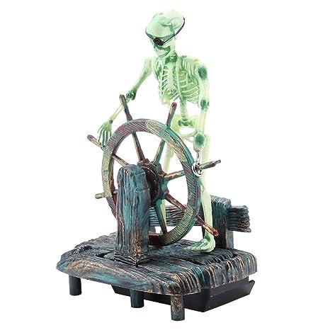 Adornos para acuarios y acuarios, decoraciones de paisajes acuáticos del pirata Capitán Esqueleto en la