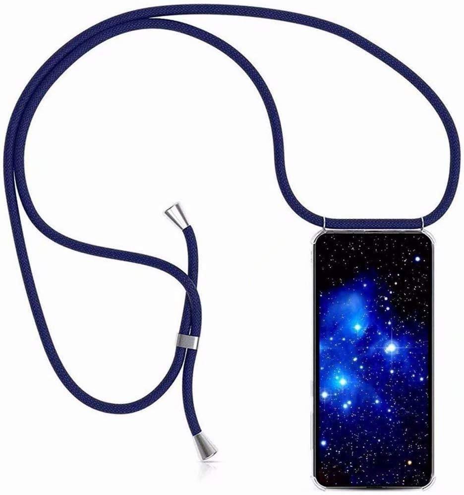 Bigcousin Funda con Cuerda Compatible con Moto G8 Play,Transparente de TPU con Ajustable Collar Cadena Cord/ón,Negro