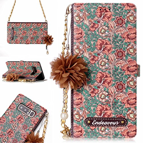 Galaxy Note 8, Case for Samsung Galaxy Note 8 - Techcircle Handbag Design Premium PU Leather Flowers Wallet Case with Card Holder & Chain & Kickstand for Samsung Galaxy Note 8 2018 - Impatiens