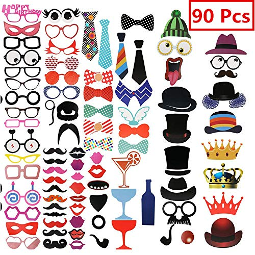 90 Pack Photo Booth Props for Wedding Graduation