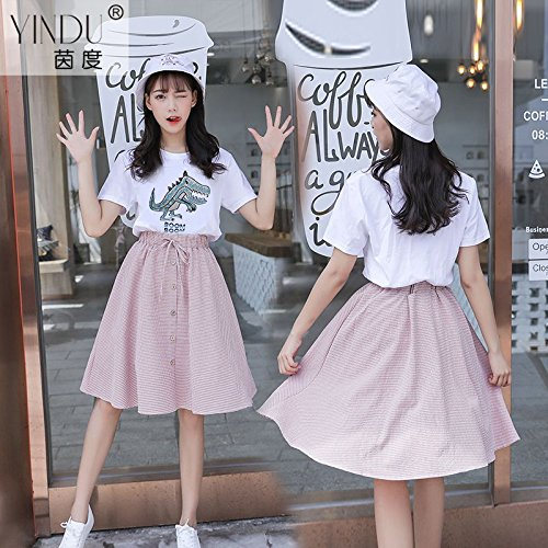 Femmes Robe Robe Rose Shirt Longueur Meow Jupe Jupe poin onnage M de Le Costume T MiGMV de Student de Deux Robes Moyenne et wt7qdOg