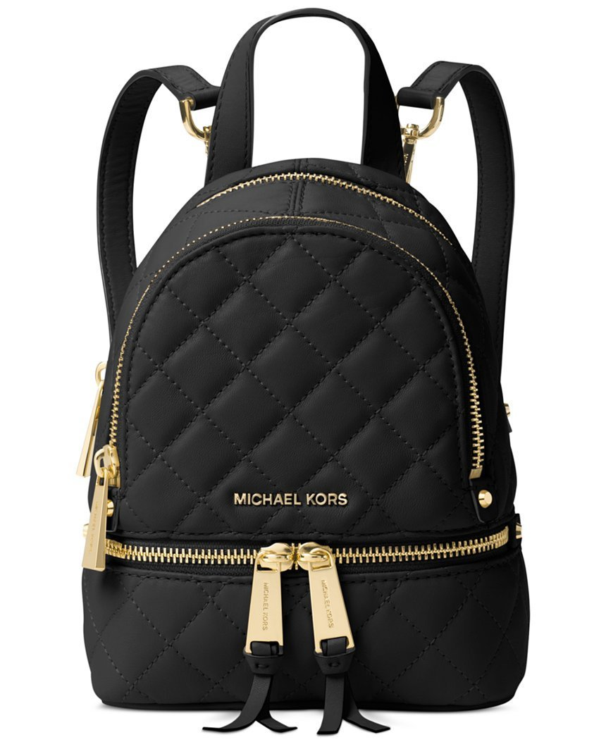 64515ae32193 Galleon - Michael Kors Rhea Zip EXTRA SMALL Quilted Backpack Leather  Black/Gold