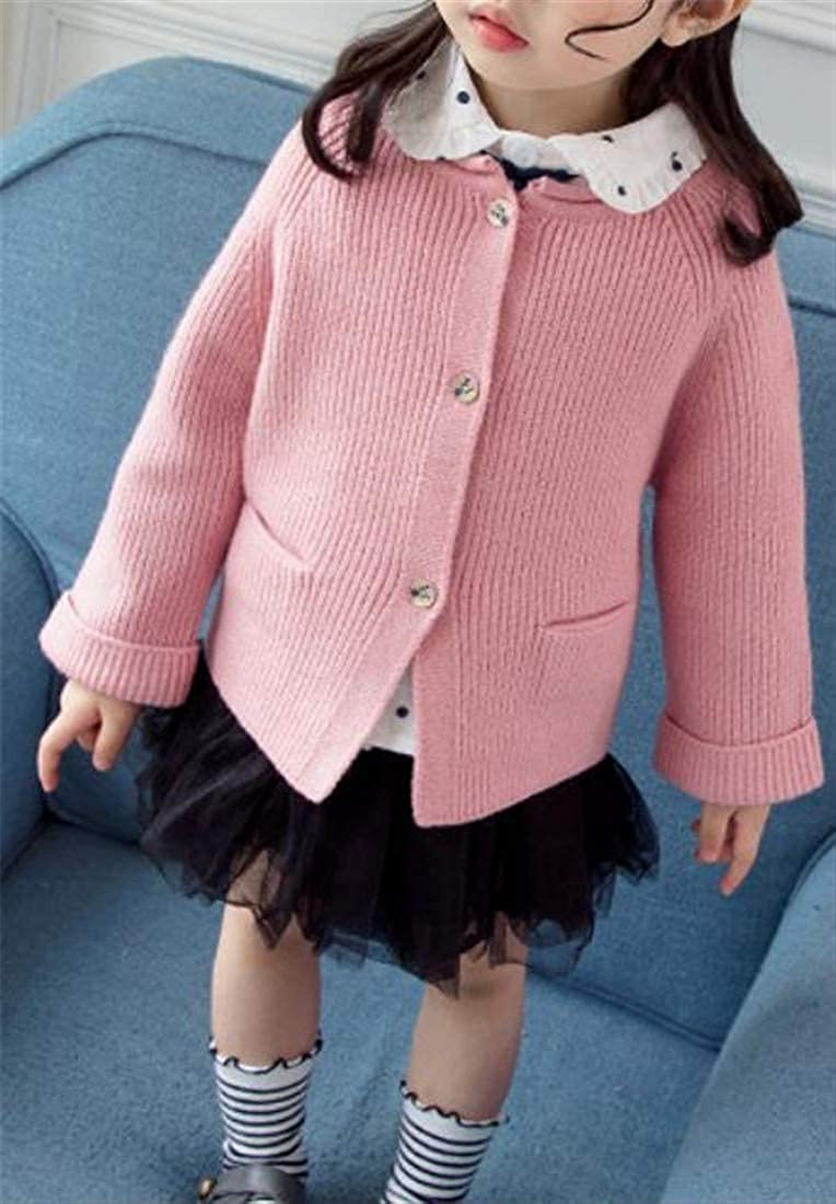 XTX Girls Open Front Knit Button-Down Pure Color Autumn Sweater Cardigan