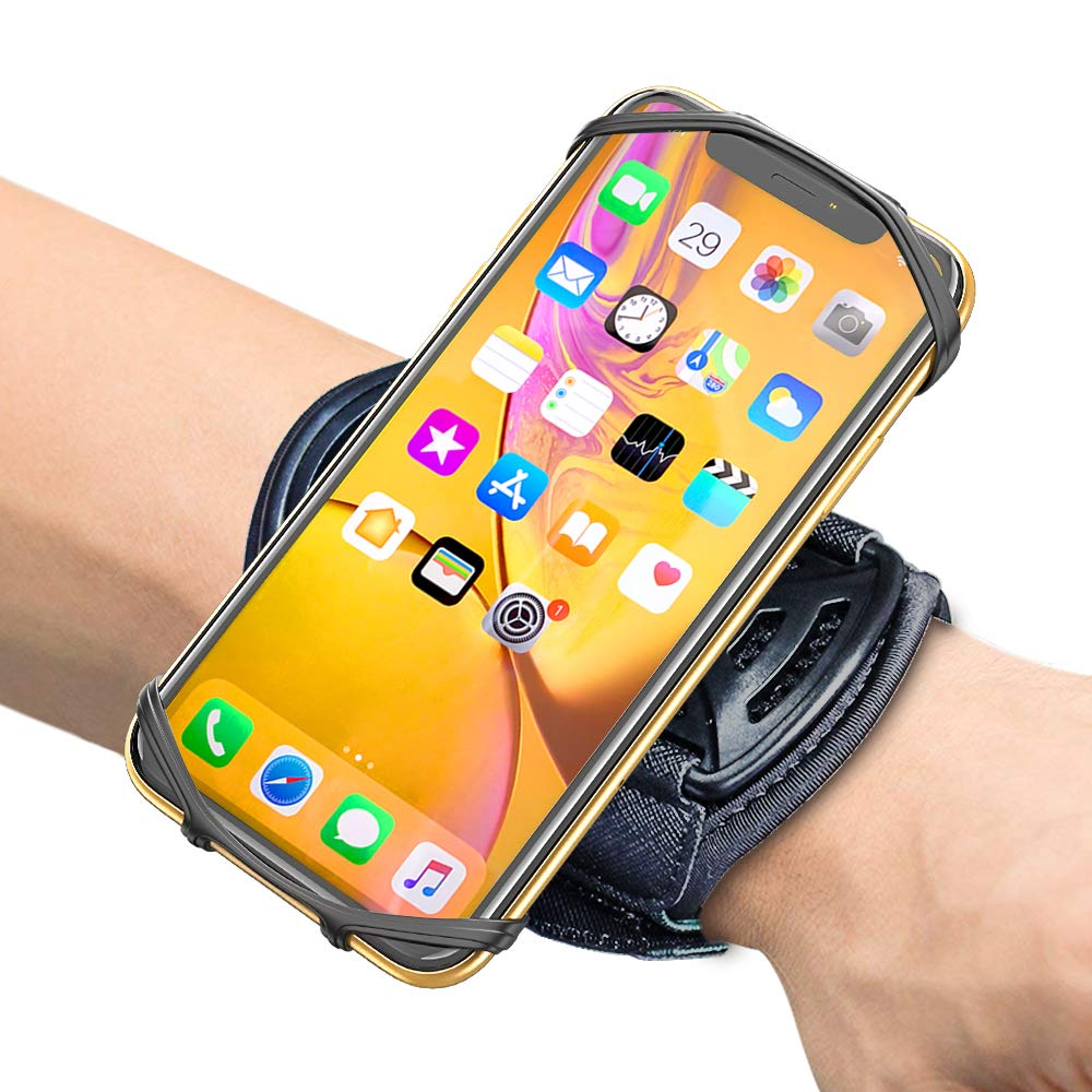 "Comsoon Sports Wristband, 360° Rotatable Forearm Armband Phone Holder for iPhone Xs Max/XR/8 Plus/7, Galaxy Note9/S9 Plus/S9 & Other 4""-6.5"" Smartphone, with Key Holder for Biking Running"
