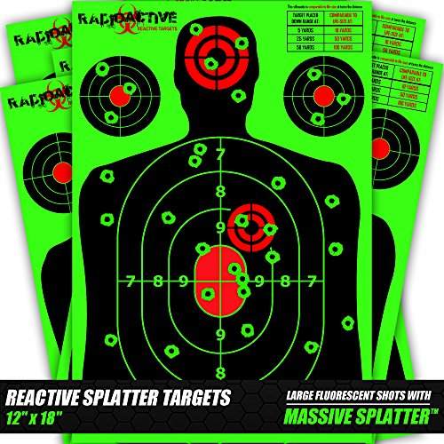 Radioactive Silhouette Reactive Shooting Targets, 12 x 18 In