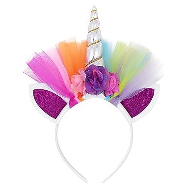 2aaaf484cf4c YiZYiF Bandeau De Cheveux Licorne Pour Bébé Fille Serre-tête Licorne Floral  Bandeau Coiffure Aux