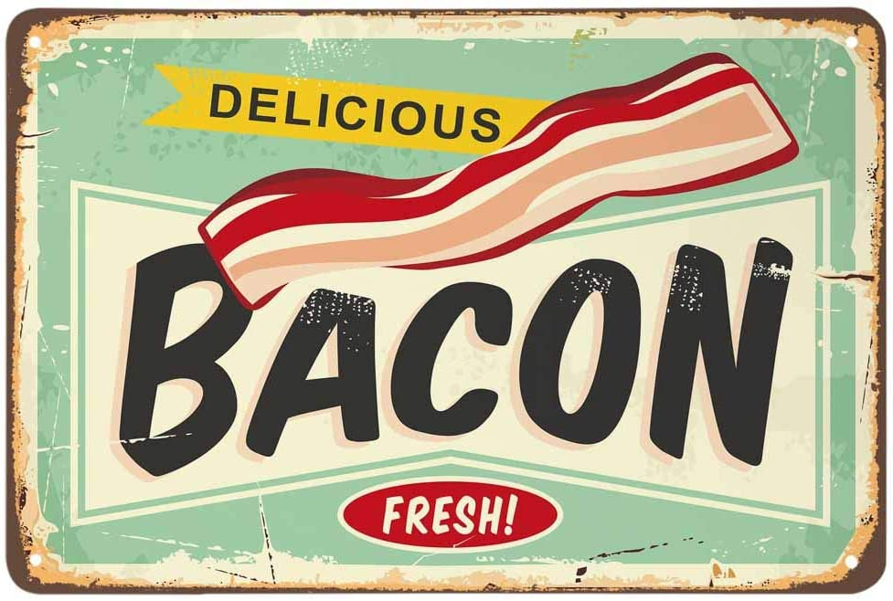 AOYEGO Bacon Tin Sign,Delicious Food Meat Vintage Metal Tin Signs for Cafes Bars Pubs Shop Wall Decorative Funny Retro Signs for Men Women 8x12 Inch