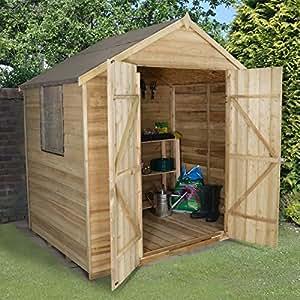 Garden Central - Caseta de madera solapada tratada a presión (2,13 x 1,52 m, doble puerta, tejado a dos aguas)