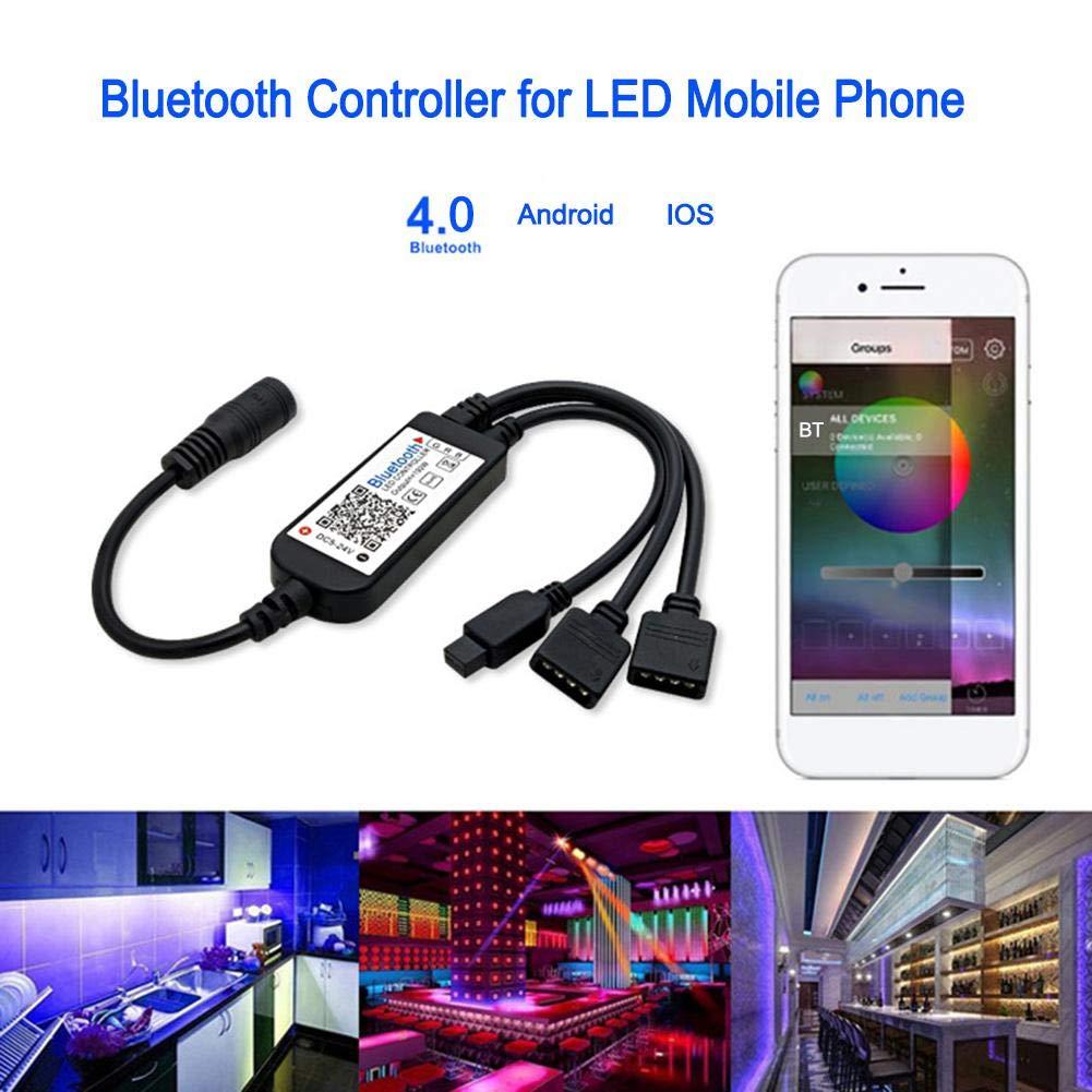 Bluetooth Phone APP Dimmer LED RGB Controller w//24 Keys IR Remote Control