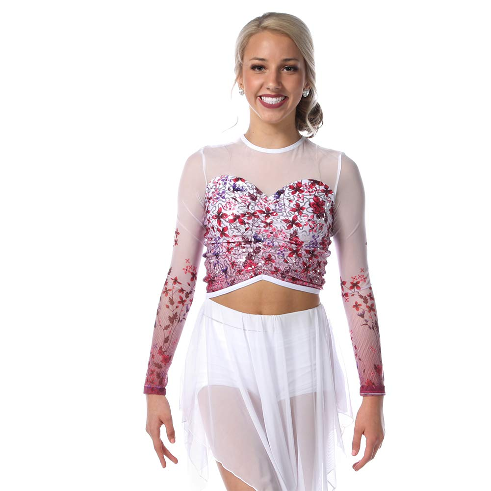 Alexandra Collection Endless Bliss Sequin Dance Costume Crop Top Pink Adult Medium by Alexandra Collection