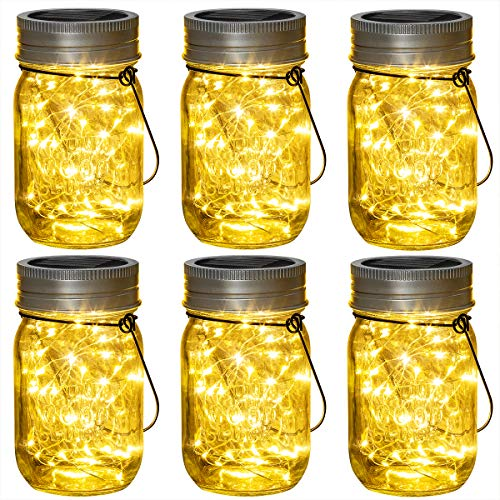 Solpex 6 Pack Hanging Solar Lights Outdoors, Solar Mason Jar Lid Fairy String Lights for Christmas, Patio, Garden, Yard and Lawn (Hangers and Jars Included)