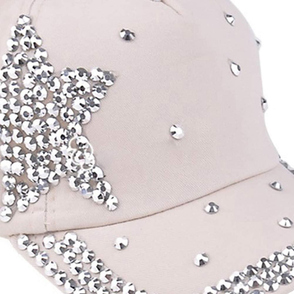 RFVTGB Baseballm/ütze Mode Einstellbare Sterne Strass Erreichte Glitter Glitzernden Hut Baumwolle Winter Baseball Cap