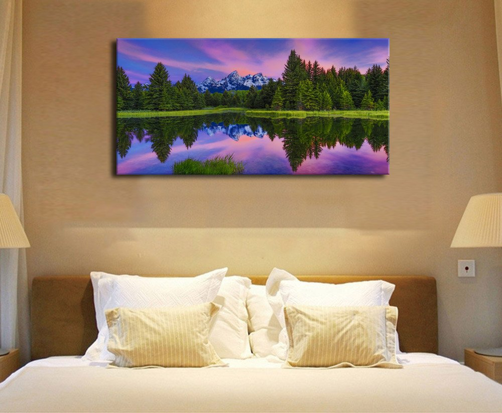 Canvas Wall Art Lake Mountain Sunset Nature Picture Modern Artwork Long Contemporary Green Tree Forest Lakeside Snow Mountain Range for Office Wall ...