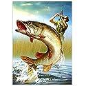 Demiawaking 5D ダイヤモンド絵画セット クロスステッチ 釣り 大きいお魚 風景 樹脂ラインストーン 貼れる 玄関・入り口 インテリア装飾 40*30cm