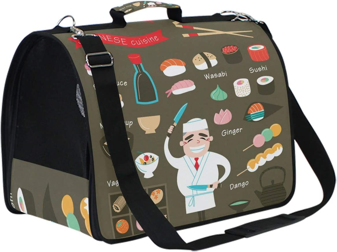 NYTTT Chef Cooking Sushi Japan Food Pet Cats Dogs Carrier Crossbody Bags Airline Approved Kitty Bag for Travel Puppy Kitten Pug