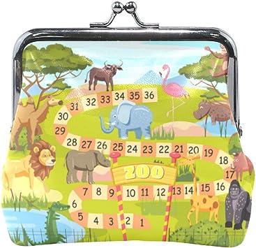 Juego de Mesa del zoológico Números Animales Monedero Lindo Monedero Retro con Hebilla Kiss-Lock Monedero pequeño: Amazon.es: Equipaje