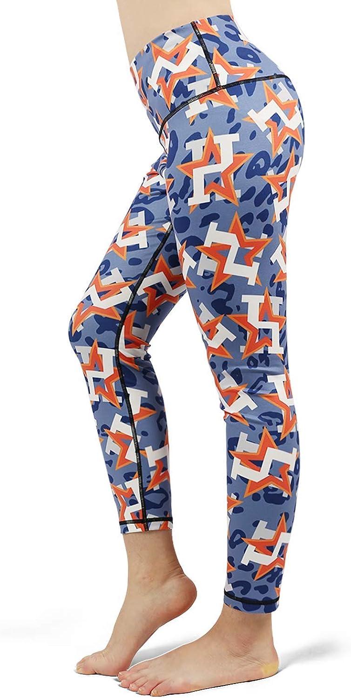 Medssii Girl Yoga Pants Camouflage Orange Star Baseball Super Soft Yoga Leggings with Pockets