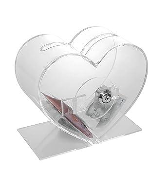 Corazón Transparente Acrílico Sugerencia caja de donación de la Caridad,Urna para votación/sugerencias/sorteos de metacrilato: Amazon.es: Oficina y ...