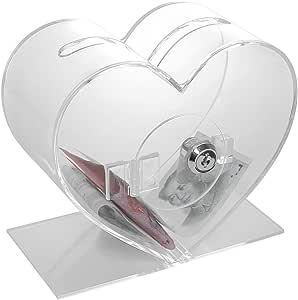 Corazón Transparente Acrílico Sugerencia caja de donación de la Caridad,Urna para votación/sugerencias/sorteos de metacrilato: Amazon.es: Oficina y papelería