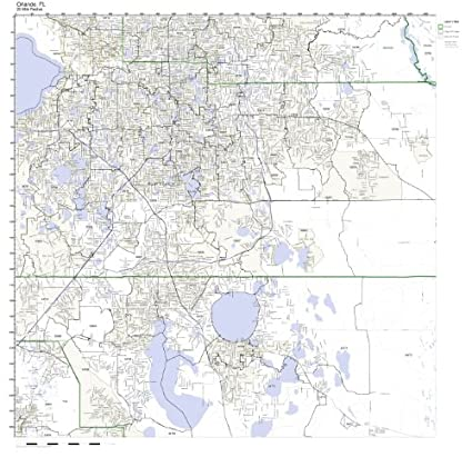 Amazon Com Orlando Fl Zip Code Map Laminated Home Kitchen