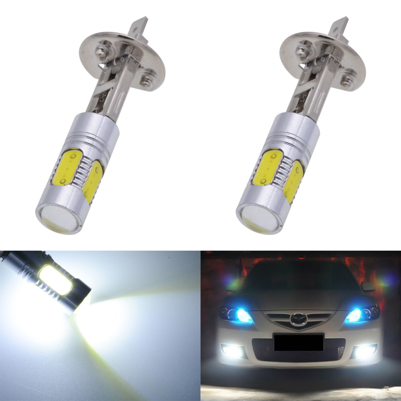 KaTur 1600 Lumens 7.5W COB H1 LED Aluminum Fog Lights DRL Turn Signals Light Bulbs Day Running Light 12V White 6000K 2-Pack