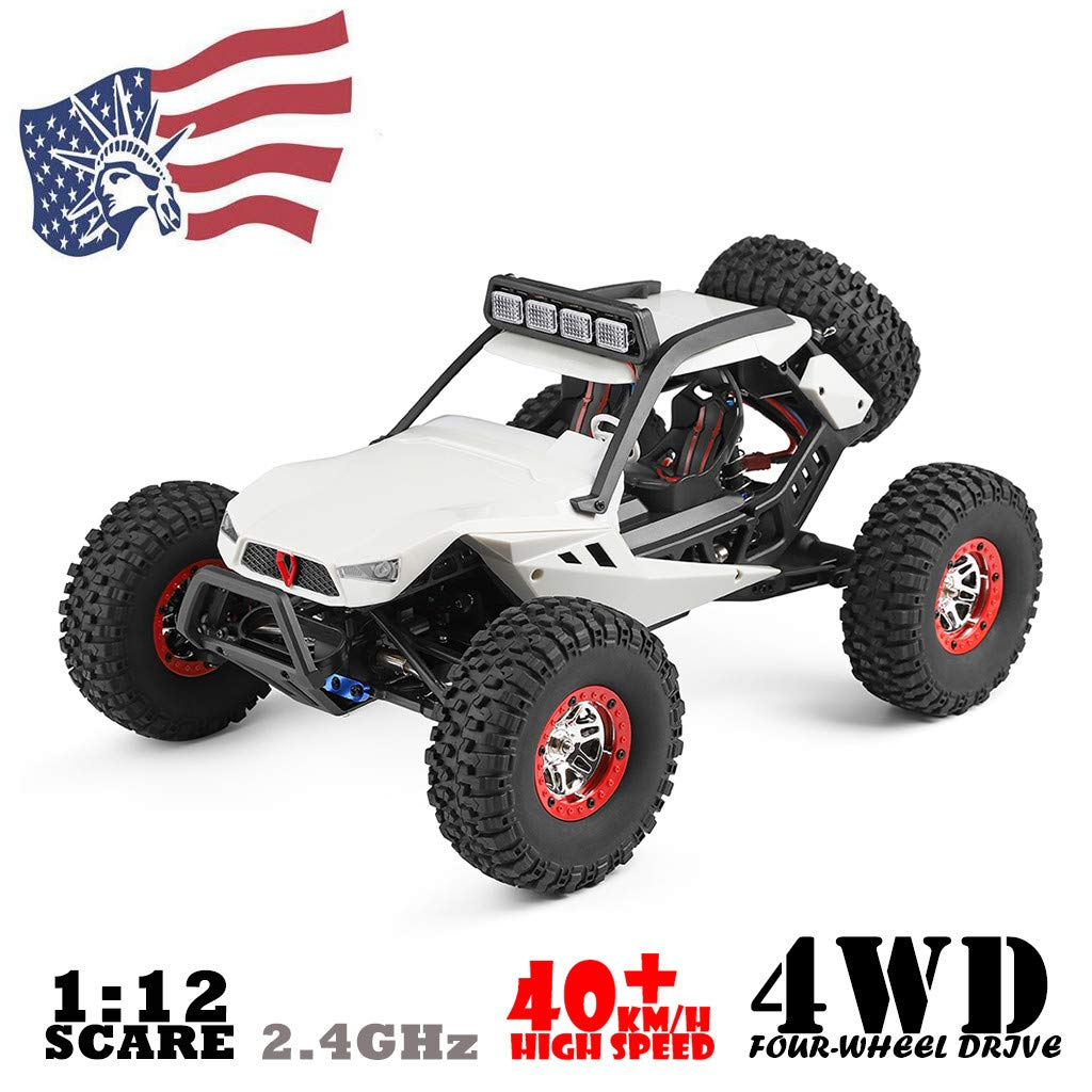 Auvem RC Electric Car, 1:12 Crawler 4WD 2.4G Electric Car with LED Lights RC Off-Road Radio Remote Control Truck, High Speed Racing Monster Truck Hobby Rock Crawler Toy (White) by Auvem (Image #2)