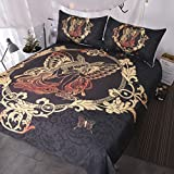 BlessLiving Fairy Butterfly Girl Bedding 3 Piece Gold Paisley Duvet Cover Set Girly Bedspreads Chic Home Black Bed Cover (Twin)