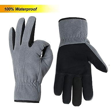 OZERO Damenhandschuhe,Thermo Winter Lederhandschuhe mit Warme Futter und... Radsport Fahrradbekleidung
