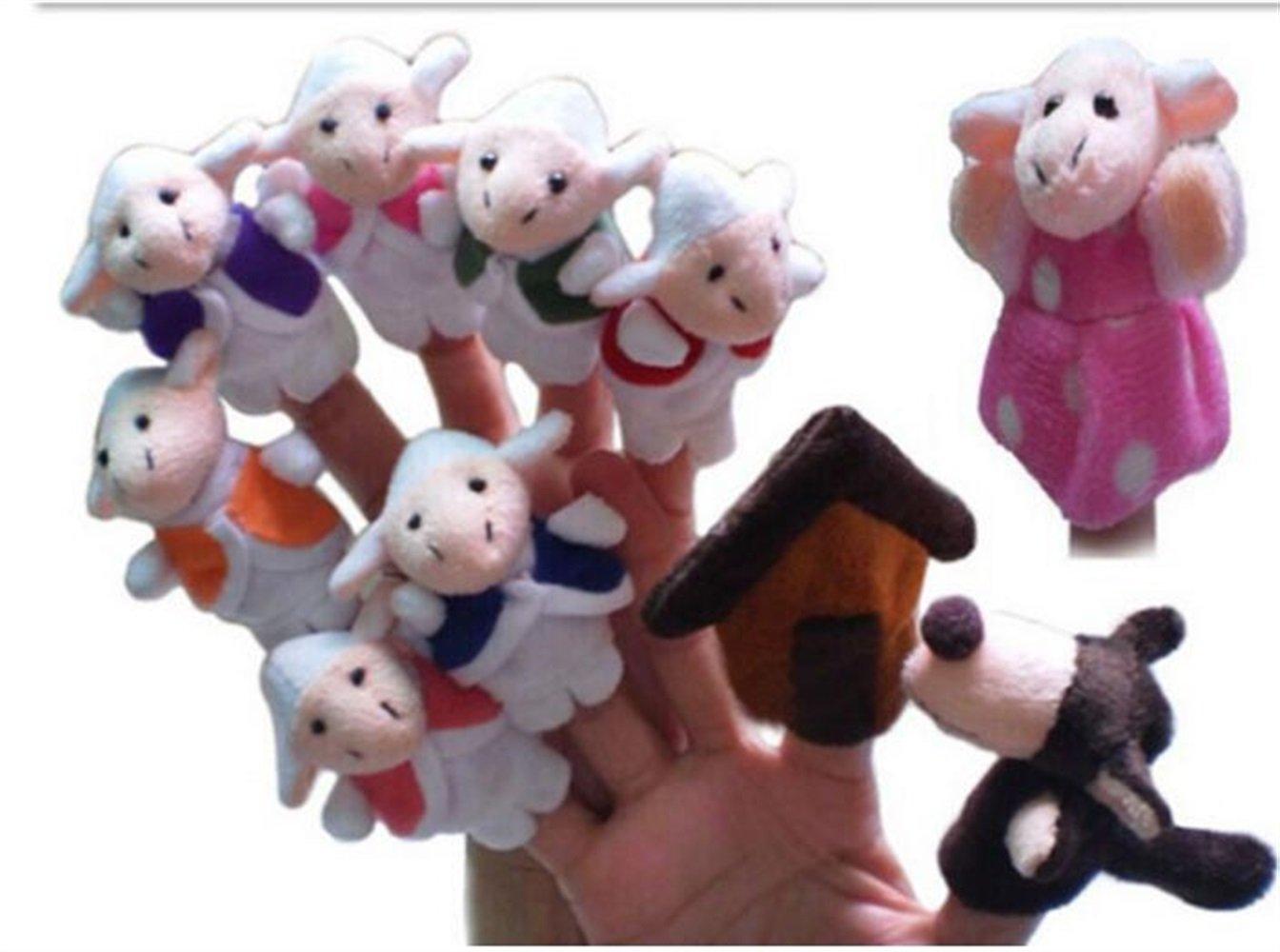 EoamIk Burattini Set of Ten PCS Peluche Finger Puppets Storia del Lupo e 7 agnelli