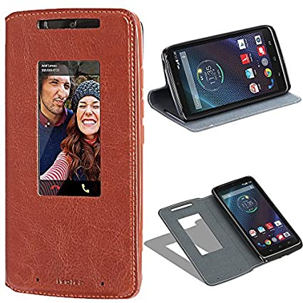 Motorola Droid Turbo Flip Case, iVoler Smart Cover Window View Premium PU Leather Book Fold