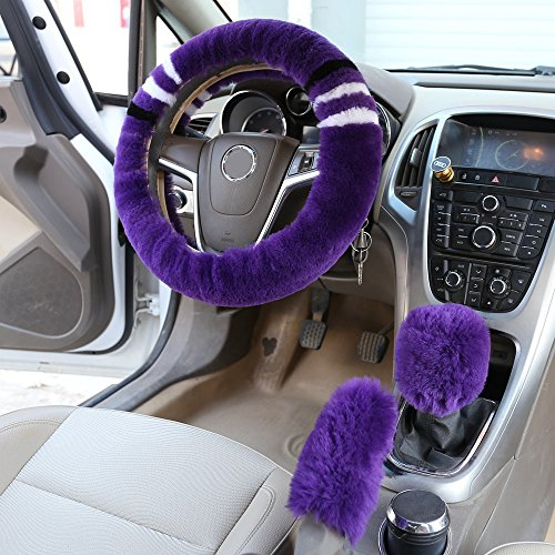 Dotesy 3 Pcs Plush Winter Warm Car Steering Wheel Cover Set with Handbrake Cover and Gear Shift Knob Cover in Soft Australia Pure Wool for 14.96 inch Car Wheel Protector, Purple (Cover Set Knob)