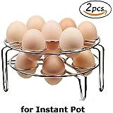 Steamer Rack, Colorful PoPo 2-Pack Stainless Steel Steamer Rack for Instant Pot and Pressure Cooker, Egg, Vegetable Cooler Stand Basket Set, Eggassist