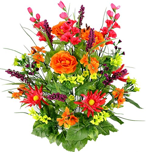 Flower Fall Centerpiece - Admired By Nature Artificial Dahlia, Morning Glory & Ranunculus & Blossom Fillers Mixed Bush for Home, Wedding, Restaurant & Office Decoration Arrangement, Velvet/Orange/Yellow/Kiwi, 30 Stems