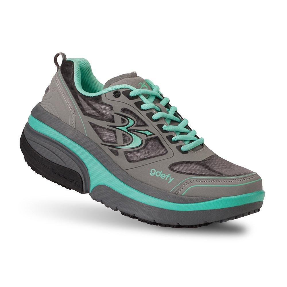 Gravity Defyer Proven Pain Relief Women's G-Defy Ion Athletic Shoes Great for Plantar Fasciitis, Heel Pain, Knee Pain B01GULR3YS 6.5 M US|Teal, Gray