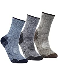 YUEDGE Men's 3 Pairs Wicking Cushion Outdoor Athletic Hiking Walking Crew Socks