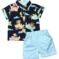 Bagilaanoe Toddler Baby Boy Gentleman Outfit Short Sleeve Striped Tops Shirts+Shorts Pants 2pcs Summer Clothes Playwear Set 6M-4T