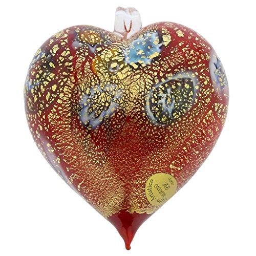 GlassOfVenice Murano Glass Millefiori Heart Christmas Ornament - Red (Red Glass Heart Ornaments)