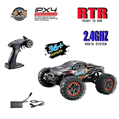 Hosim Large Size 1:10 Scale High Speed 46km/h 4WD 2.4Ghz Remote Control Truck 9125,Radio Controlled Off-road RC Car Electronic Monster Truck R/C RTR Hobby Grade Cross-country Car (Red): Toys & Games