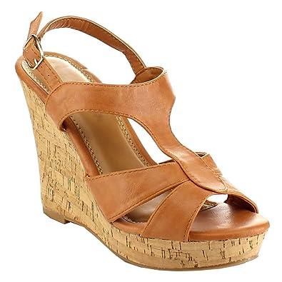 643f88122 Amazon.com | BESTON EA81 Women's Slingack T-Strap Cut Out Platform Cork  Wedge Sandals, Color:Cognac, Size:5.5 | Sandals
