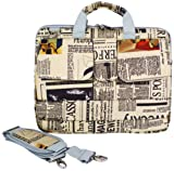14 inch Newspaper Pattern Laptop Carry Case / Shoulder Messenger Bag / Briefcase for Macbook, Acer, Dell, HP, Sony Notebook
