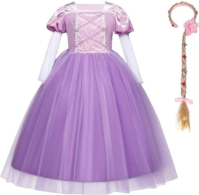 Disfraz de Princesa Rapunzel Niña Vestido Fiesta Manga Larga ...
